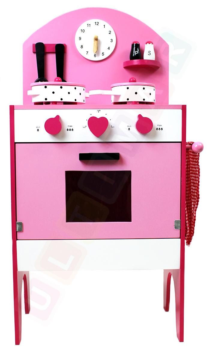 rosa gro e holzk che kinderk che spielk che mit zubeh r spielzeug kinder ebay. Black Bedroom Furniture Sets. Home Design Ideas